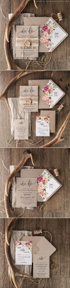 We Do :hearts: Wedding Invitation with wooden tag & floral printing…