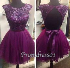 2015 purple chiffon backless short prom dress for teens, ball gown, homecoming dress #promdress