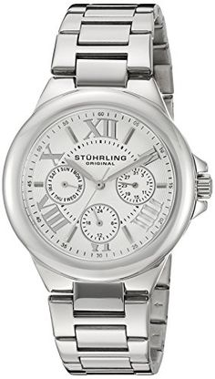 Stuhrling Original Women's 367.01 Symphony Pontiff Analog Display Quartz Silver Watch. Polished stainless steel round shaped case with protective Krysterna crystal on front. Silver dial with stainless steel applied roman numerals and markers with outer minute track. Day, date, and 24 hour indicator sub dials. Polished and brushed stainless steel triple row link bracelet with fold over push button clasp. Water resistant to 165 feet (50 M): suitable for swimming and showering.