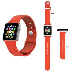 Apple Watch Band, Smarco Soft Silicone Replacement Watch Band for 38mm apple Watch(Not for 42mm Version,3pcs Bands for 2 Lengths)(Orange)