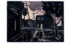 Oswaldo Goeldi, Céu Vermelho (Red Sky), xilogravura, 1950