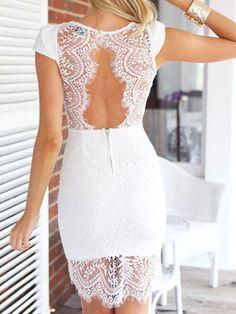 White Eyelash Lace Asymmetry Hem Cut Out Back Dress   Choies