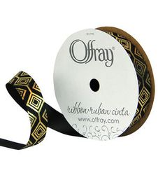 "Offray 5/8""x9' Large Diamond Link Abstract Single Faced Satin Ribbon-Black"
