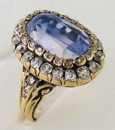 Antique Jewelry Sapphire Diamond Ring French Gold Napoleon III Victorian (#5355)