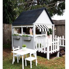 """INTRODUCING """"The Cubby House Cafe"""" as named by the kiddos // best known for their ice creams , coffee , burgers (with the lot ) and… Backyard Playhouse, Build A Playhouse, Backyard Patio, Kids Cubby Houses, Play Houses, Outdoor Baby, Outdoor Decor, Wendy House, Cafe House"""