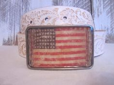 Old Glory Rustic American Flag Bling Patriotic Military Distressed Belt Buckle