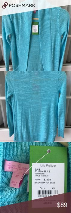 Lilly Pulitzer Amalie Open Front Cardigan Lilly Pulitzer Amalie Open Front Cardigan in Breakwater Blue. NWT Lilly Pulitzer Sweaters Cardigans