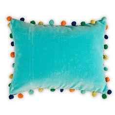 Velvety aqua pompom cushion
