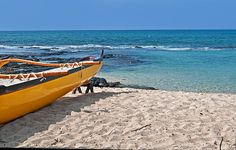 Yellow Boat On Sand Of Tropical #Beach fine #art #prints