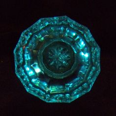 Turquoise Glass Door Knob:  Standard glass door knob size, unusual color.  More available in the store.