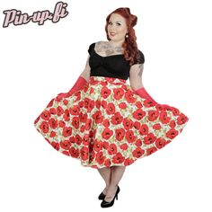 Miss Elinor -Red Poppy Hame Red Poppies, Midi Skirt, Pin Up, Poppy, Skirts, Vintage, Dresses, Summer, Style