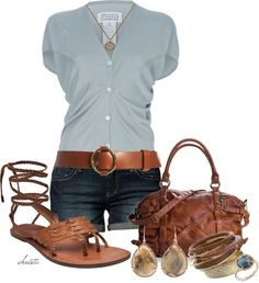 Casual shirt & shorts w/ankle-wrapped flat sandals.