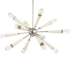 FREE SHIPPING. Purchase the 12 light Zodiac Chandelier for your mid-century modern dining room lighting Today at lightingconnection.com. Crystorama 3812-PN
