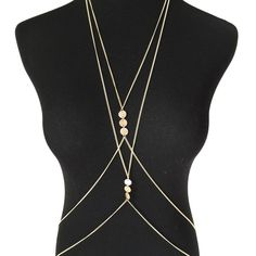 """▪️ SALE ▪️ Double Body Chain Double Body Chain featuring minimal disc accents in gold tone chain.  2"""" extender chain at neck and waist.  Two delicate chains overlap in a figure 8.  NWT, never worn.  Boutique brand.  ▪️ SALE! $22 marked down to $18!▪️ Charm City Jewelry"""
