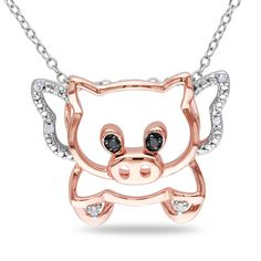 Miadora Two-tone Silver Black and White Diamond Pig Necklace