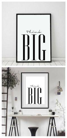 Think Big Motivational Printable Poster. #MyHappyWalls #homeoffice #bedroomprint #livingroomprint #printable #quote #walldecor #affiliate #wallprint