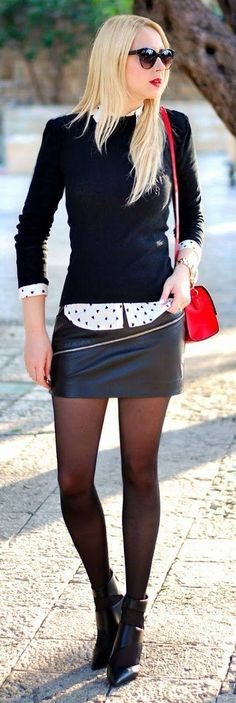 Black & White Print Shirt  & Sweater With Mini !