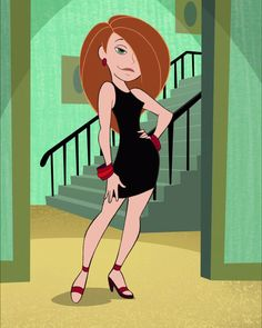 """HiRes screenshot from Episode """"Emotion Sickness"""" of season of cartoon """"Kim Possible"""" Kim Possible in little black dress Dope Cartoon Art, Dope Cartoons, Cartoon Pics, Girl Cartoon, Female Characters, Cartoon Characters, Kim Possible Characters, Nursery Drawings, Today Images"""