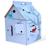 Casa Cabana comes either completely white or with a cat on a tree, a small ant, a rabbit and a squirrel.  In any case more than enough room to color, paint and decorate your very own Casa Cabana. Let it be your tree house, mansion or hiding shed.