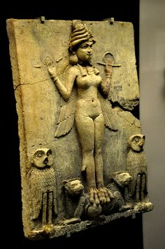 uulemnts:    elektrik667:  The figure could be an aspect of the goddess Ishtar Mesopotamian goddess of sexual love and war or Ishtars sister and rival the goddess Ereshkigal who ruled over the Underworld or the demoness Lilitu known in the Bible as Lilith. The plaque probably stood in a shrine.   Old Babylonian era 1800-1750 BCE from southern Iraq (place of excavation is unknown) Mesopotamia Iraq. (The British Museum London).