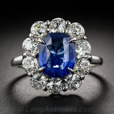 French 3.51 Natural No-Heat Sapphire and Diamond Vintage Ring - 30-1-6220 - Lang Antiques