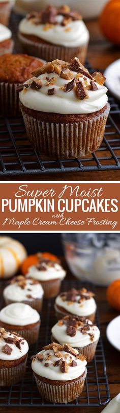 Moist Pumpkin Cupcakes with Maple Cream Cheese Frosting and Chopped Toffee