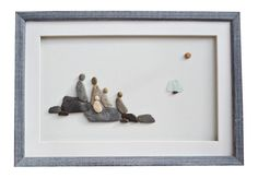 Family gift, Pebble Art Family of five, New home housewarming gift, Nautical theme home décor, Family framed wall art