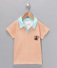 White & Orange Monkey Organic Polo - Toddler (original $28.00)  $13.99