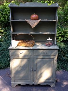 French Country painted kitchen hutch