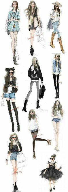 Casual fashion illustration ~ #fashiondesigndrawings,