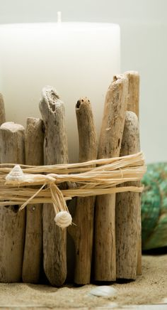 Driftwood Covered Candle by CrackinMermaid on Etsy, $16.00
