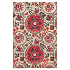 Loomed art silk rug with a suzani motif. Made in Turkey.   Product: RugConstruction Material: Art silkCo...