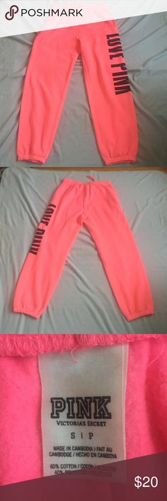 Victoria Secret PINK sweats. Bright Neon pink Victoria Secret PINK sweat pants. Excellent condition. Perfect for lounging. Have pockets and elastic at the ankles. PINK Victoria's Secret Pants Track Pants & Joggers