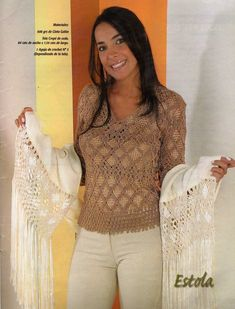 MACRAMÉ: Suéter, chal, vestido, chaleco, bufanda de seda… | Variasmanualidades's Blog Macrame Art, Macrame Projects, Get Fresh, Sport Girl, Knots, Ruffle Blouse, How To Wear, Clothes, Style