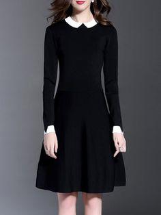 Black Casual A-line Color-block Midi Dress