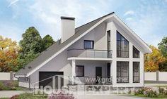 200-007-Л Проект двухэтажного дома мансардный этаж и гаражом, уютный коттедж из арболита