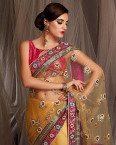 Meena Bazaar Embroidered Net Saree with contrast border Indian Attire, Indian Wear, Indian Outfits, Meena Bazaar, Big Fat Indian Wedding, Net Saree, Indian Couture, Indian Fashion, Bridal Dresses
