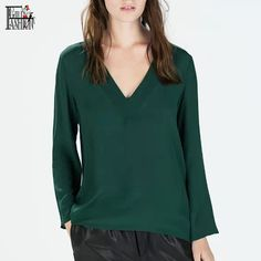 2016 Autumn Women Chiffon Blouses V Neck Long Sleeve Shirts Ladies OL Shirt Femininas Tops Vintage Green Blusas y Camisas Mujer-in Blouses & Shirts from Women's Clothing & Accessories on Aliexpress.com | Alibaba Group
