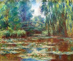 Water Lily Pond and Bridge : Claude Monet : Impressionism : flower painting - Oil Painting Reproductions Monet Paintings, Impressionist Paintings, Landscape Paintings, Landscapes, Claude Monet, Artist Monet, Monet Water Lilies, Art Japonais, Lily Pond
