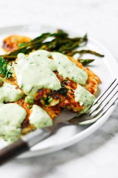 Best zesty herb salmon burgers w/ lemon asparagus & tzatziki sauce! Ready in 20 minutes! Paleo & Whole30.