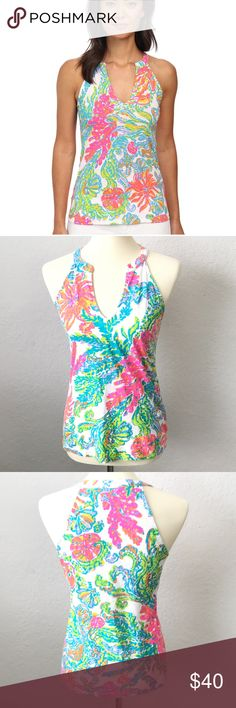 FIRM $$$ Lilly Pulitzer Arya Casa Marina Tank Top Lilly Pulitzer Arya Tank Top Size Small Excellent Condition!  Sleeveless Top With Tunic Neckline, Notch Front And A Tonal Embroidered Logo. Slubby Pima Cotton Jersey - Solid (100% Cotton). Lilly Pulitzer Tops Tank Tops