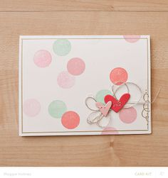 Hearts & Confetti Card by maggie holmes at @Studio_Calico - stamped circle card #SCofficehours