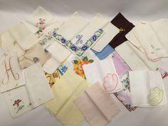 Vintage hankies lot of 22 Floral Embroidery Plain Monogrammed