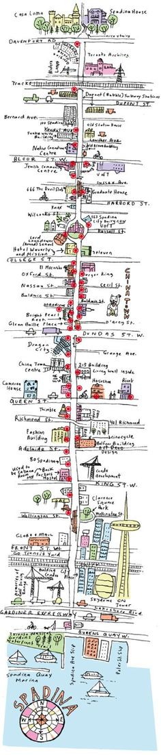 Fun Hand Illustrated Street City Map of Toronto