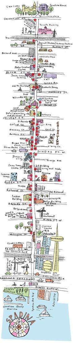 Fun Hand Illustrated Street City Map of Toronto