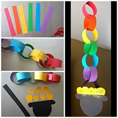How to make a rainbow chain pot o gold craft for st patricks day.