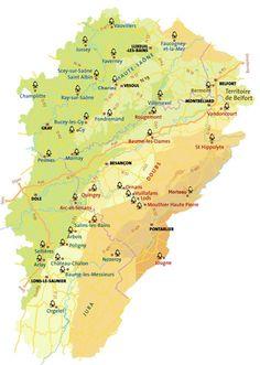 La carte des Petites Cités Comtoises de Caractère