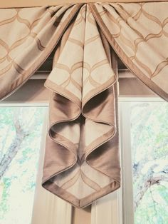 Custom window valances, swags & jabots in 32 styles with customized details created by our drapery workroom. Window Swags, Window Rods, Valance Window Treatments, Custom Window Treatments, Bay Window, Fancy Curtains, Elegant Curtains, Drapes Curtains, Kitchen Window Coverings
