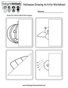 Kids are asked to draw the other half of Halloween themed images in this fun activity worksheet.