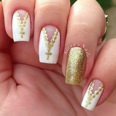 Gold and white rosary nailart #nailart #nails #white #gold #glitter #rosary
